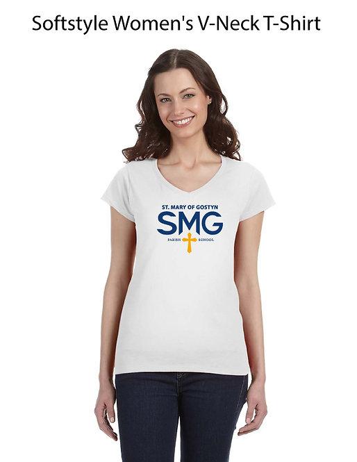 SMG Women's V Neck T-Shirt - White