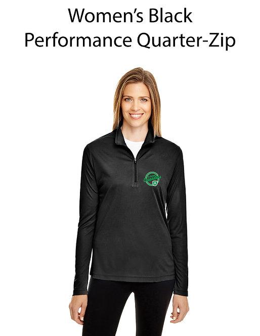 SJS Women's Quarter Zip Pullover -Black