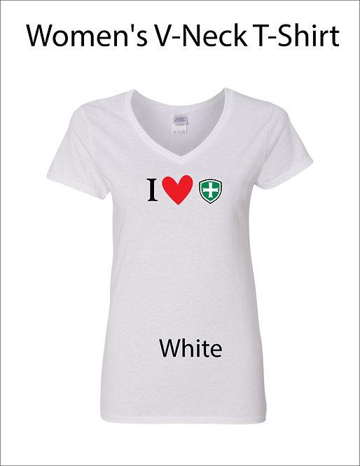 SJS Women's I Heart Shield Shirt - White
