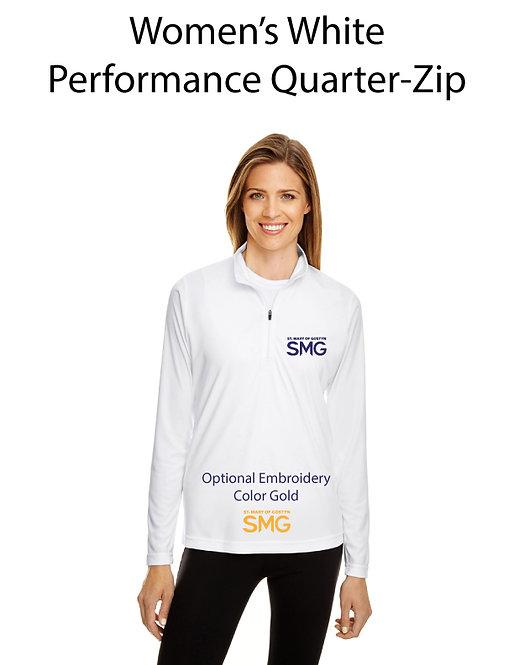 SMG Women's Quarter Zip Pullover - White