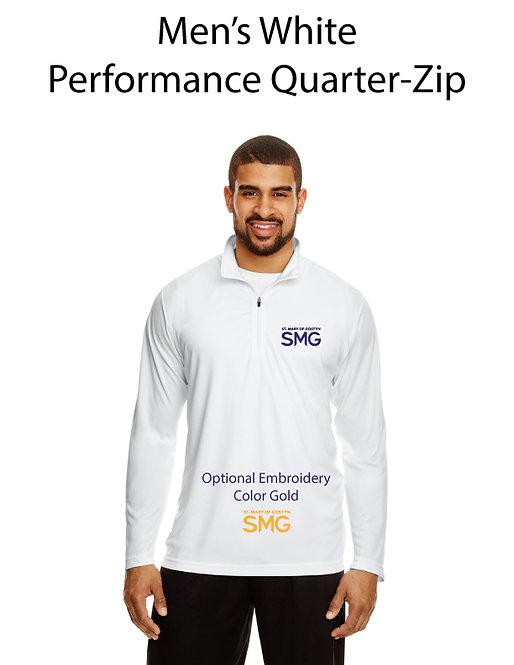 SMG Men's Quarter Zip Pullover - White
