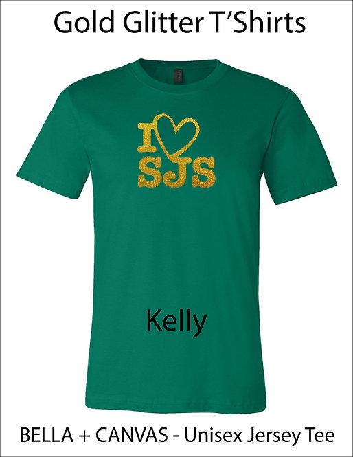 SJS I Heart SJS Glitter Shirt - Black, Kelly Green, Gold Glitter