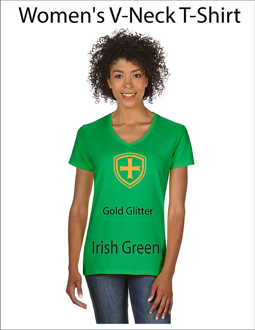 SJS Women's Shield Shirt - Irish Green, Gold Glitter