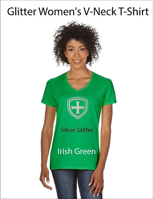 SJS Women's Shield Shirt - Irish Green, Silver Glitter