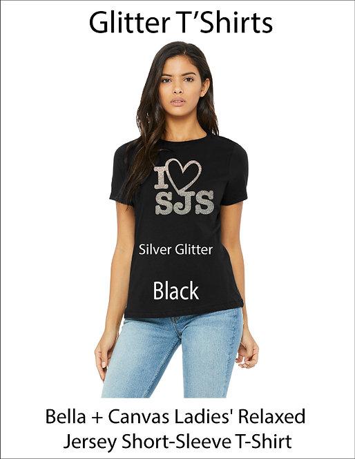 SJS Women's Bella & Canvass I Heart SJS Shirt - Black, Silver Glitter