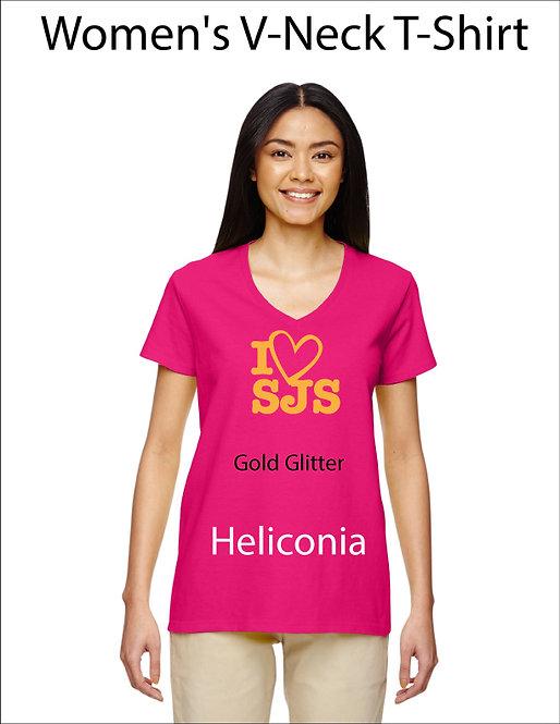 SJS Women's I Heart SJS Shirt - Heliconia, Gold Glitter