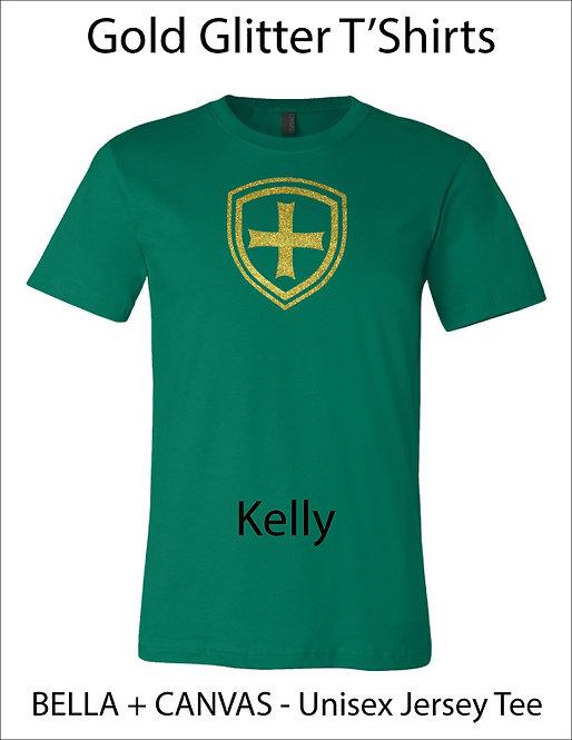 SJS Shield Glitter Shirt - Kelly Green, Gold Glitter