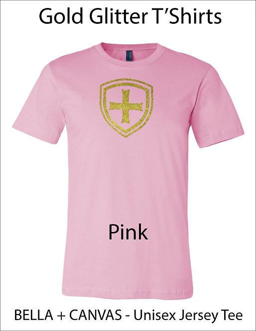 SJS Shield Glitter Shirt - Pink, Gold Glitter