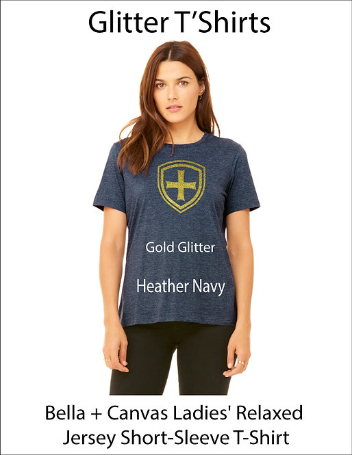 SJS Women's Bella & Canvass Shield Shirt - Heathered Navy, Gold Glitter