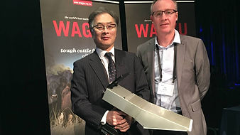 Joe Grose speaking at AWA with Professor