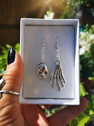 Skull / Bones & Swarovski Crystal Handmade Earrings