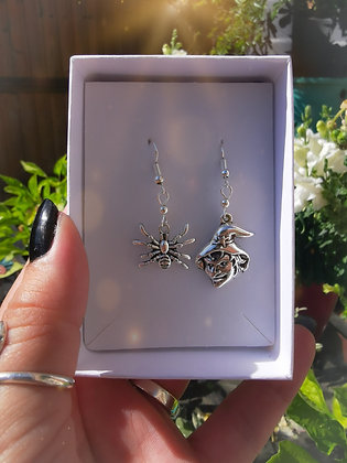 Witch / Spider Charm & Swarovski Crystal Handmade Earrings