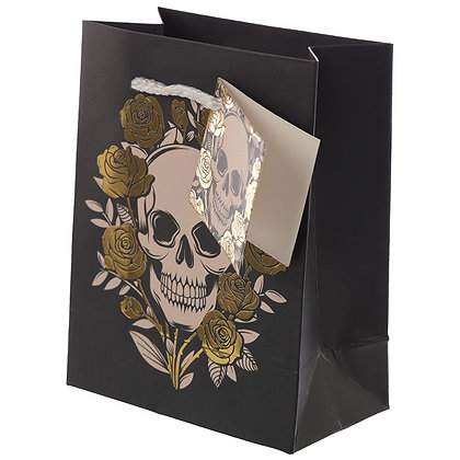 Metallic Skulls & Roses Gift Bag - Small