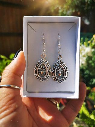 Spider Web Charm Handmade Earrings