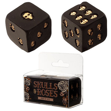 Skulls and Roses Set of 2 Black and Gold Skull Dice