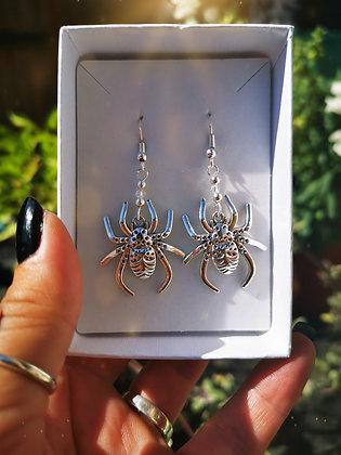 Large Spider & Swarovski Crystal Handmade Earrings