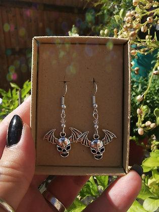 Bat Skull Charm & Swarovski Crystal Handmade Earrings