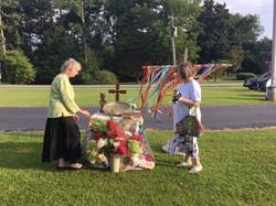 Melanie and Ann set up our altar