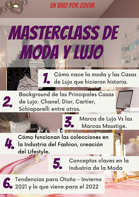 MasterClass de Moda, Lujo y Tendencias 2021 y 2022