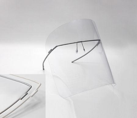 monogram shield/ silver + white