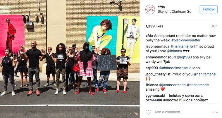 Instagram: FFA peaceful protest at Fashion Week on CFDA Instagram