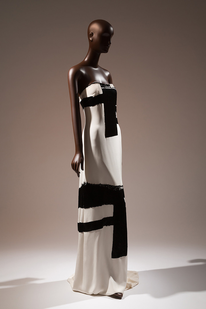 THE MUSEUM OF FIT / Gaskins evening gown with crushed bugle beaded details simulating the brush strokes of Franz Kline