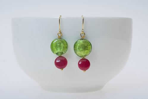 Bright green (small) & red color stone 小のブライトグリーン&レッドカラーストーン