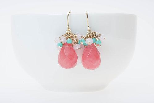 Cherry quartz & glass clusters チェリークゥーツ&ガラスクラスター