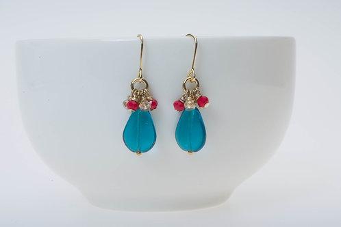 Teardrop marine blue & red and champagne cluster ティアドロップマリンブルー& 赤とシャンパンクラスター