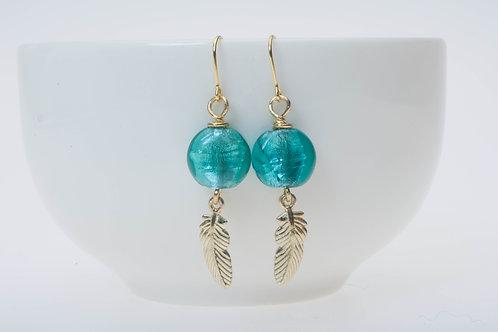 Tropical blue (small) & gold color mini feather tassel 小のトロピカルブルー&金色のミニ羽チャームタッセル