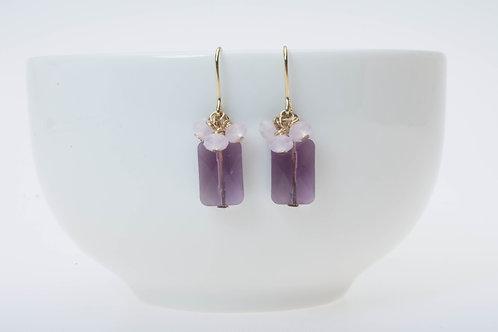 Purple glass & baby pink glass cluster 紫のガラス&ベビーピンクのガラスクラスター