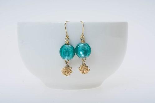 Tropical blue (small) & gold color wire ball tassel 小のトロピカルブルー&金色の丸いタッセル