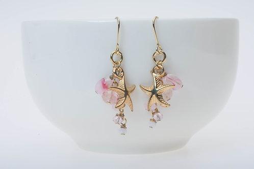 Starfish & pink marble glass スターフィッシュとピンクのマーブル風ガラス