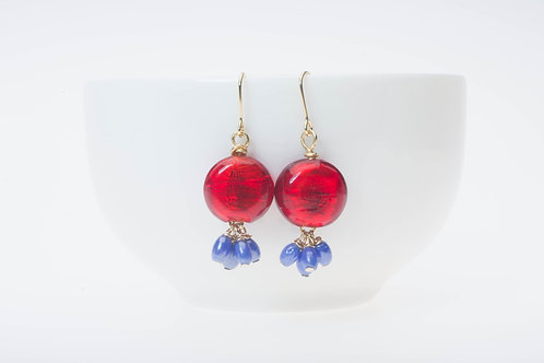Tropical red (Large) & blue glass tassel トロピカルレッド&青のガラスタッセル