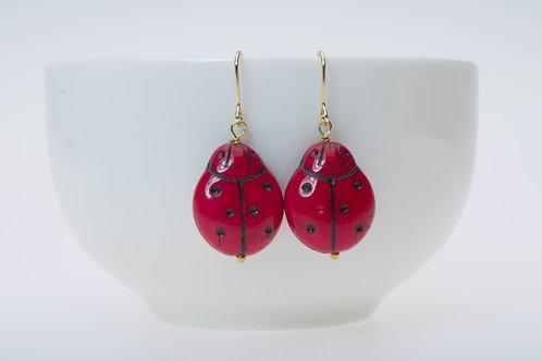 Red ladybug glass (large) 赤のテントウムシ(大)