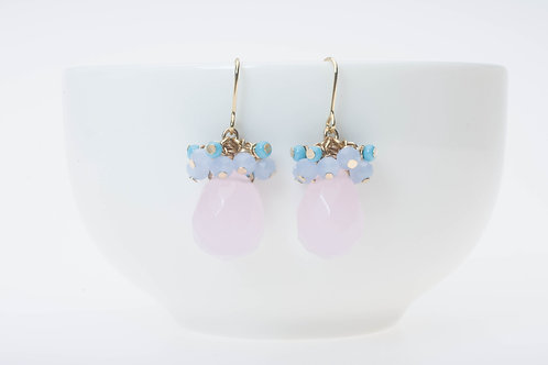 Rose quartz & glass clusters ローズクォーツ&ガラスクラスター
