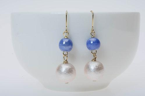 Cotton pear & blue ceramic bead コットンパール&青のビーズ