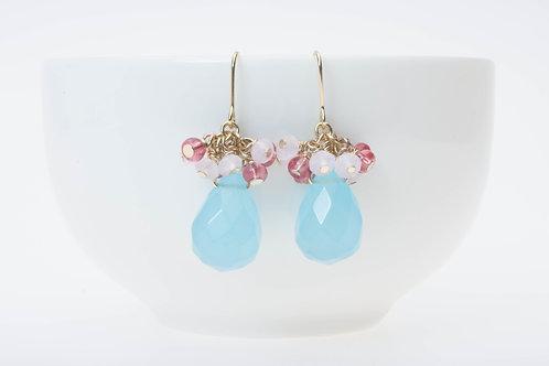 Blue quartz & glass clusters 青のクゥーツ&ガラスクラスター