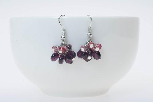 Purple glass beads (Silver cooler hooks) パープルガラスクラスター(シルバーメッキフック)