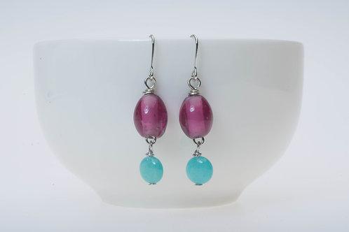 Purple glass & baby blue color stone tassel 紫のガラス&ベビーブルーストーンのタッセル