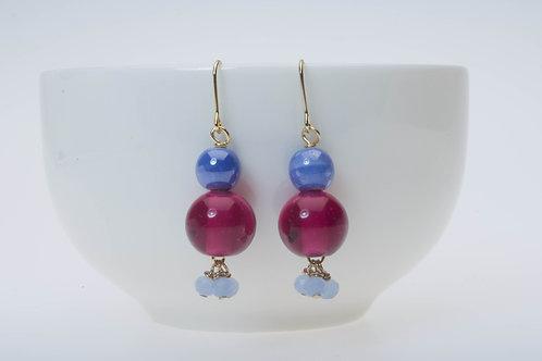 Wine color glass & baby blue tassel & blue ceramic bead ワイン色のビーズとベビーブルータッセル&青の陶器