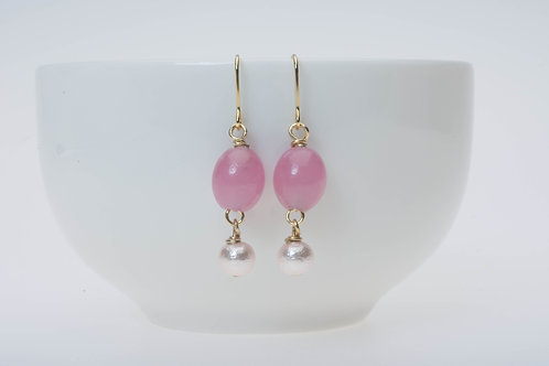 Pink glass & soft pink cotton pear ピンクのガラス&ソフトピンクのコットンパール