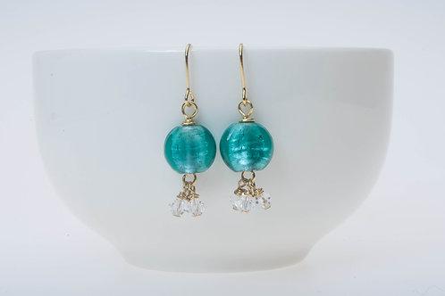 Tropical blue(small) & Swarovski crystal tassel小のトロピカルブルー&スワロフスキークリスタルタッセル