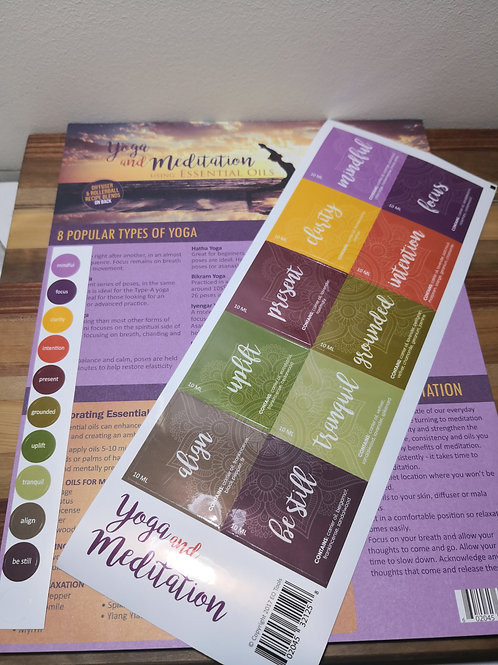 Yoga and Meditation Recipe sheet and Labels