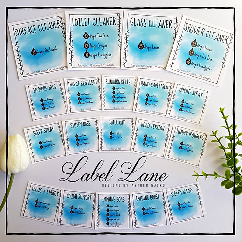 Blue Watercolour - Label Lane Sticker Set