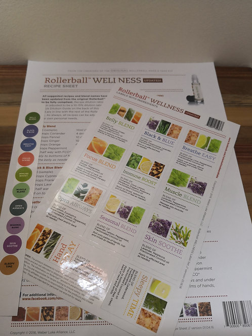 Wellness Recipe sheet and Labels