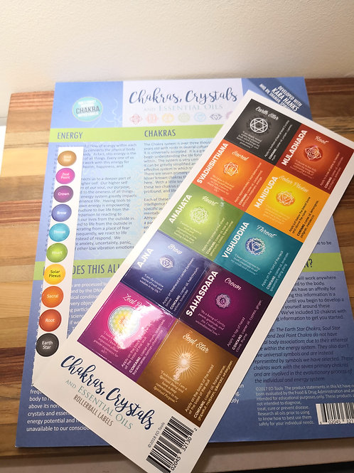 Chakras, Crystals and Essential Oils Recipe sheet and Labels