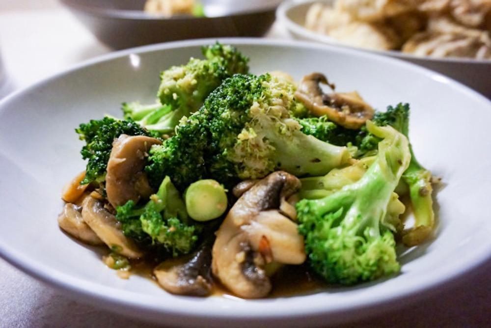 Honey-Soy Broccoli and Mushrooms