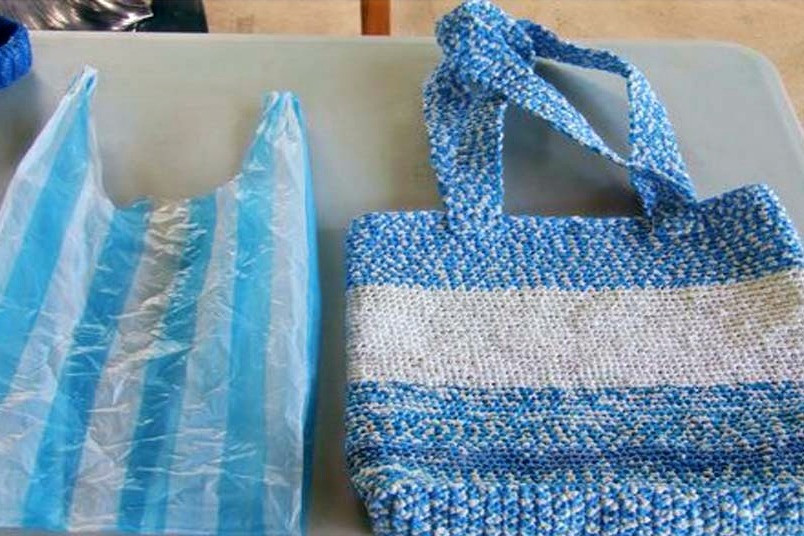 Melt plastic grocery bags into handbags (outdoors)