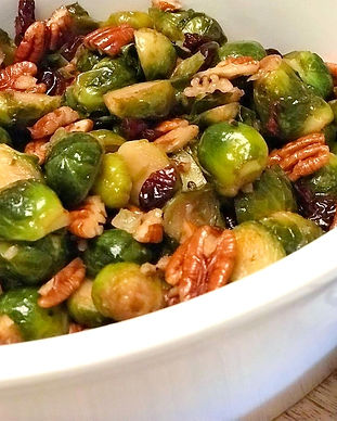 roasted brussels with maple, pecans, and